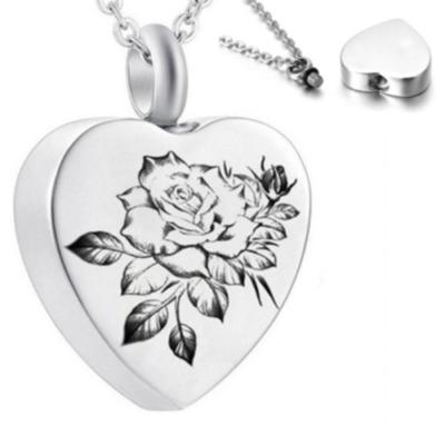 Virágmintás szív kegyeleti ékszer medál