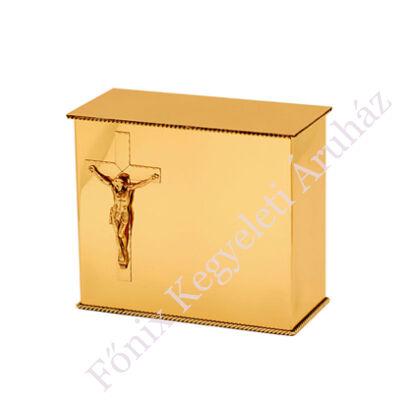 """Fényes felületű, hagyományos sárgaréz """"iker"""" urna feszülettel"""