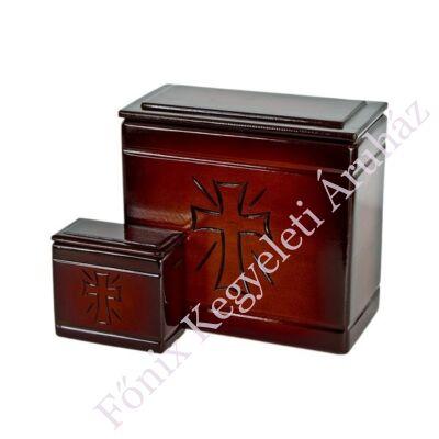 Fa iker mini urna kereszt mintával sötét