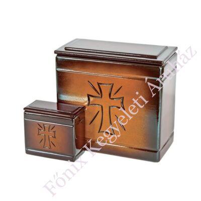 Fa iker mini urna kereszt mintával