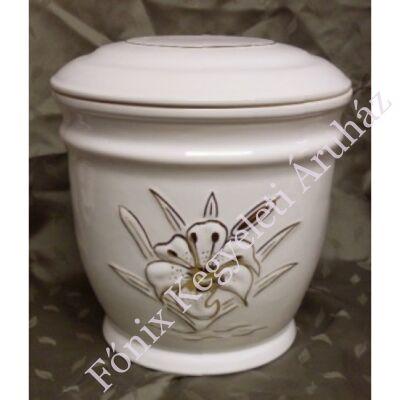 Fehér kerámia urna liliom mintával