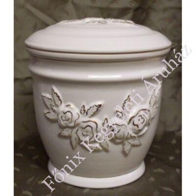 Fehér kerámia urna rózsa mintával