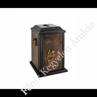 Fa álló urna, kálával, kereszttel - sötét barna