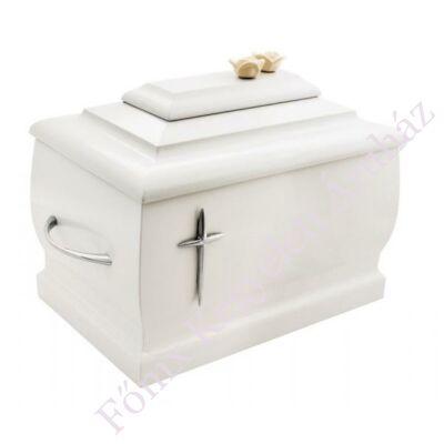 Fa urna, kereszttel - fehér