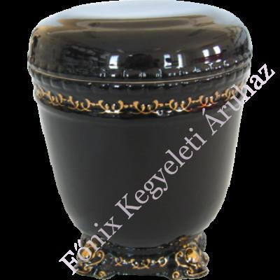 Aranyozott kerámia urna - fekete