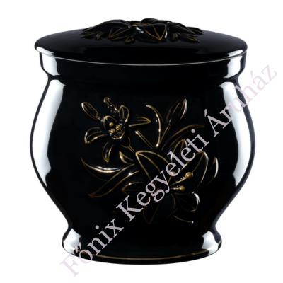Fekete kerek urna liliommal