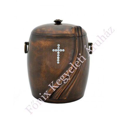 Sötétbarna kő kompozit urna - kristály kereszttel