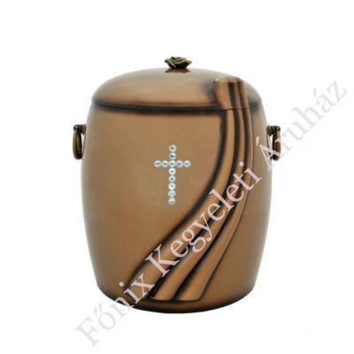 Barna tónusú kő kompozit urna - kristály kereszttel