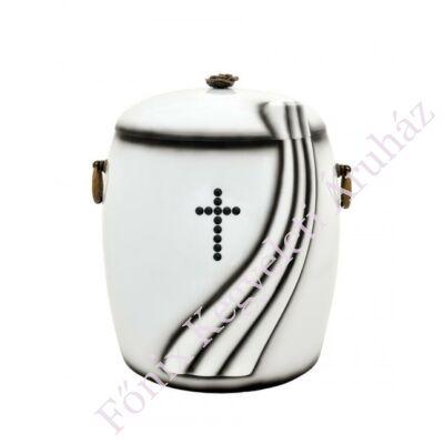 Fehér tónusú kő kompozit urna - kristály kereszttel