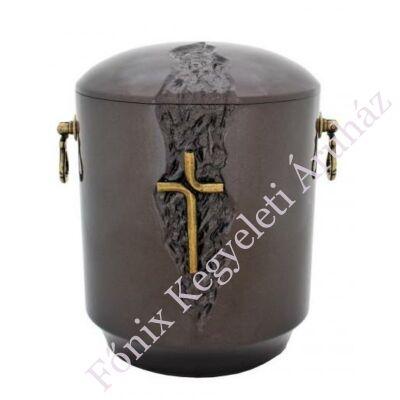 Kő kompozit urna - keresztes, sötét tónusú