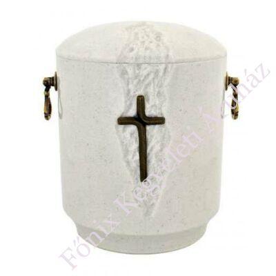 Kő kompozit urna - keresztes, fehér