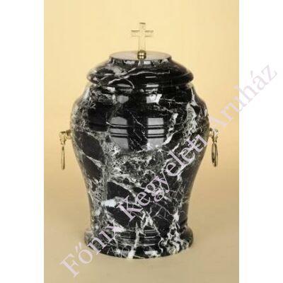 Márvány (onyx) urna kereszttel, fekete tónusú