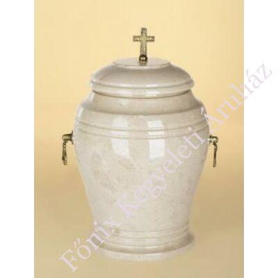 Márvány (onyx) urna kereszttel, tört fehér tónusú