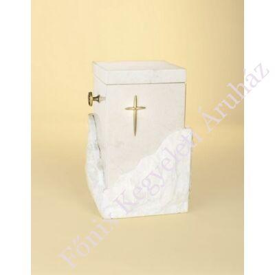 Álló márvány (onyx) urna kereszttel, tört fehér alapszínű