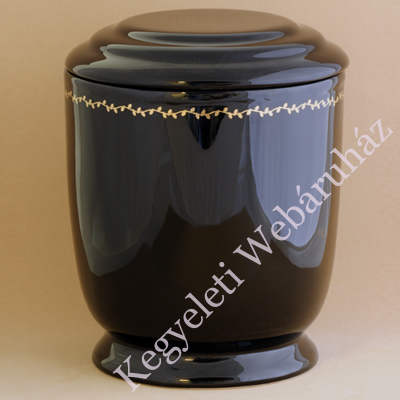 Arany szegélyes fekete urna