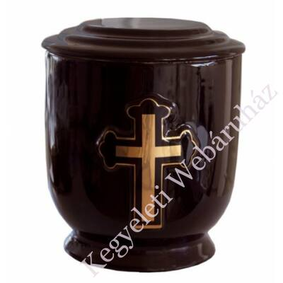 Fekete kerek urna arany kereszttel