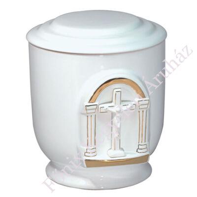 Fehér kerek urna domború feszülettel