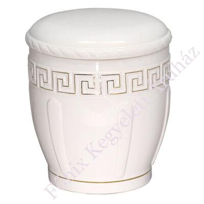 Fehér kerek urna arany motívummal