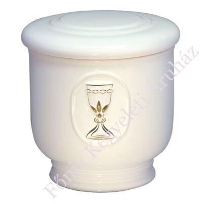 Fehér kerek urna arany kehellyel