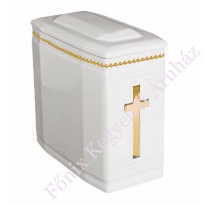 Fehér iker urna arany kereszttel