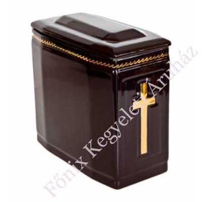 Fekete iker urna arany kereszttel