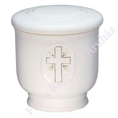 Fehér kerek urna arany kereszttel