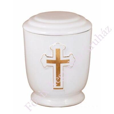Fehér kerek urna vastag kereszttel