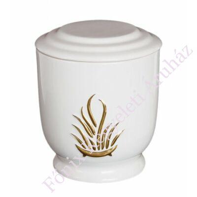 Fehér kerek urna arany lángokkal