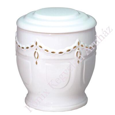 Fehér kerek urna arany mintával