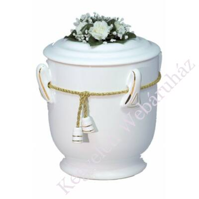 Fehér kerek urna zsinórral, virággal