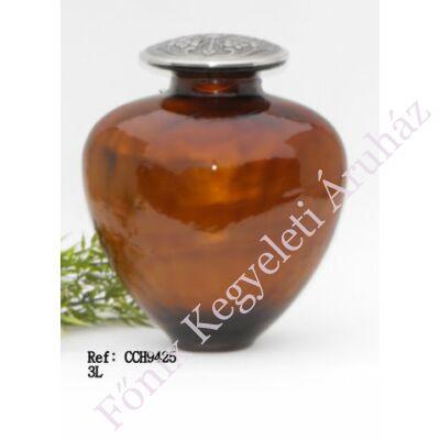 Barnás narancs színű, különleges fém-üveg urna