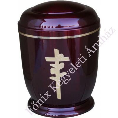 Bordó, rózsa keresztes fém urna