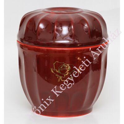 Bordó legyezős urna arany rózsával
