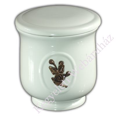Rózsa díszítésű fehér urna