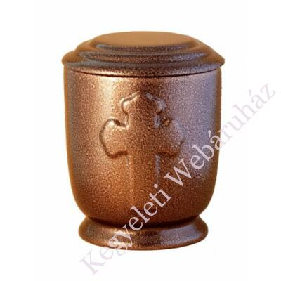 Bronz színű urna kereszt motívummal