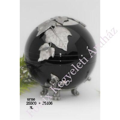 Fekete fém gömb urna levelekkel