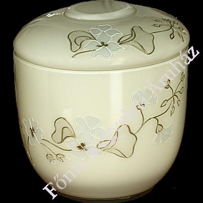 Opál üveg, girland díszítésű, ekrü színű urna