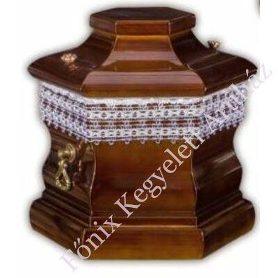Hatszögletű fa urnakoporsó-dió