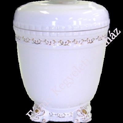 Aranyozott kerámia urna - fehér