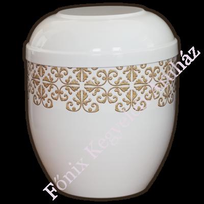 Fehér, girlandos fém urna