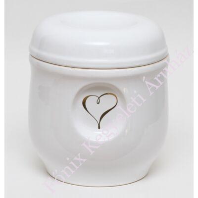 Fehér ablakos urna arany szívvel