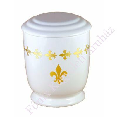 Fehér kerámia urna liliomokkal