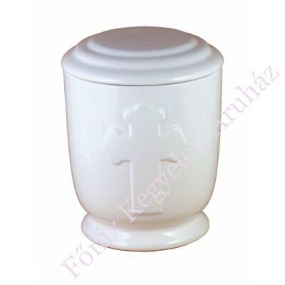 Fehér kerámia urna kereszttel
