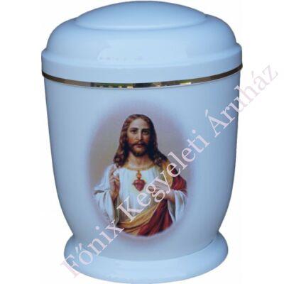 Fehér, fém urna Jézussal