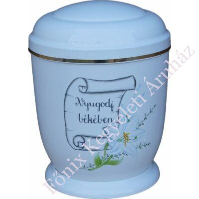 Fehér, liliomos fém urna