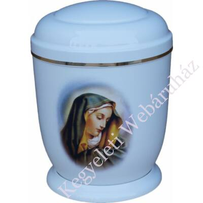 Fehér, fém urna Máriával