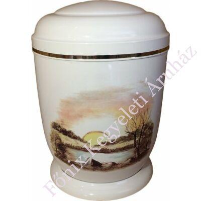 Fehér, naplementés fém urna