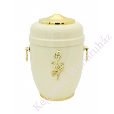 Rózsás fehér fém urna