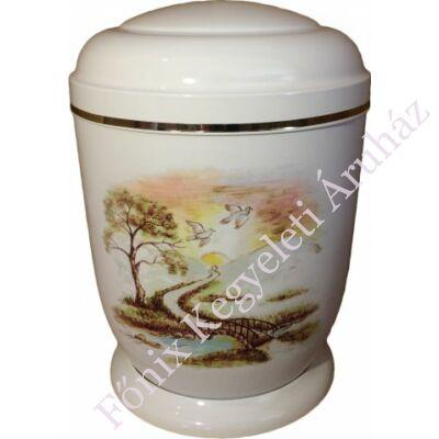 Fehér, patakos fém urna