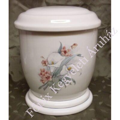 Fehér urna színes virágokkal